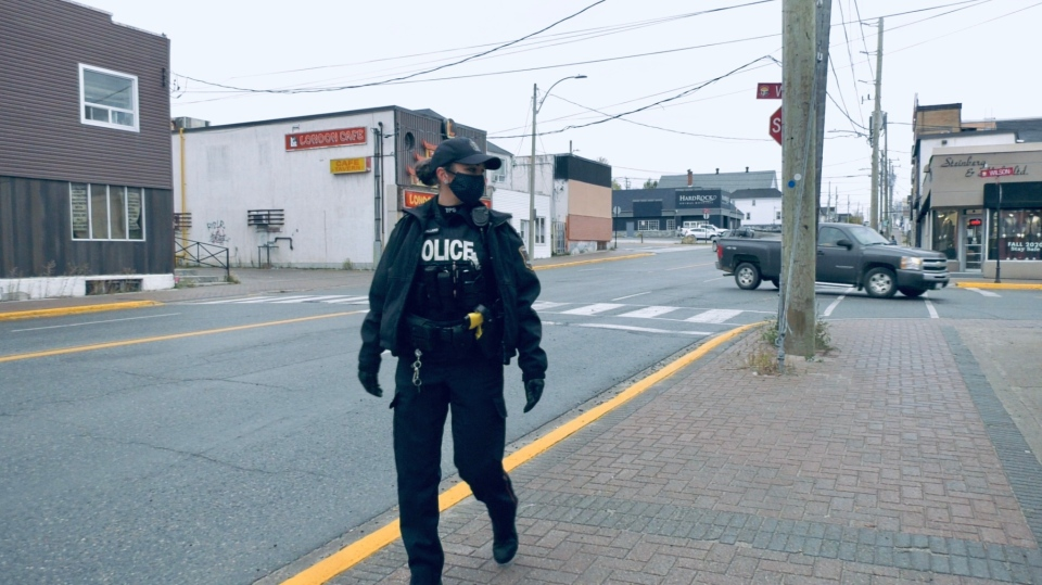 Constable Caroline Rouillard has been recently assigned to 'walk the beat' in downtown Timmins and other hot spot areas.  Police officials believe the 'old school policing' approach will pay off. Oct. 12/20 (Lydia Chubak/CTV Northern Ontario)