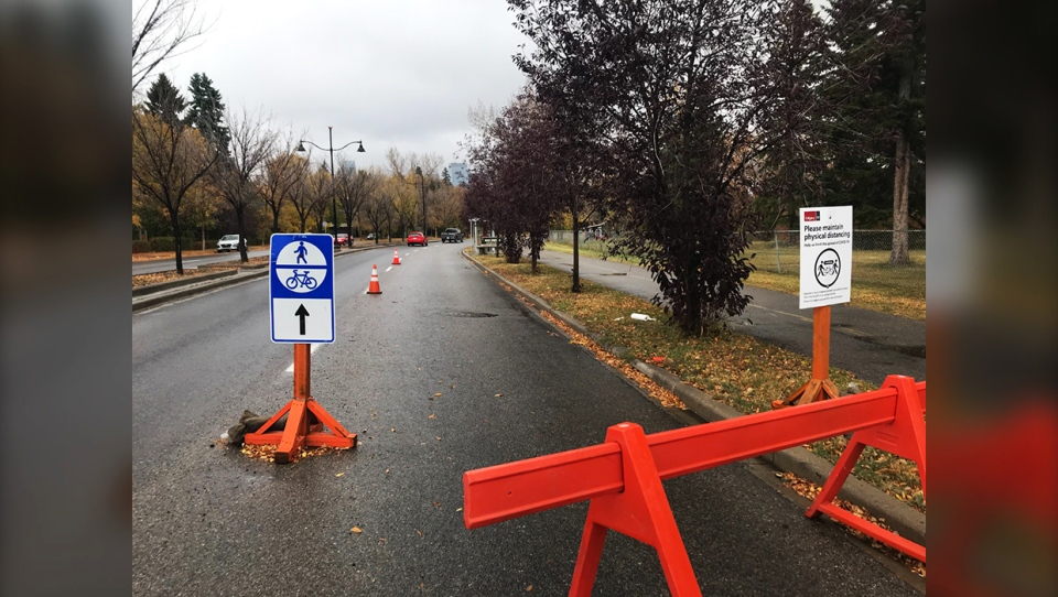 Bike Calgary is urging the city to consider keeping temporary lane closures in place alongside popular walking and cycling routes to allow for physical distancing through the winter