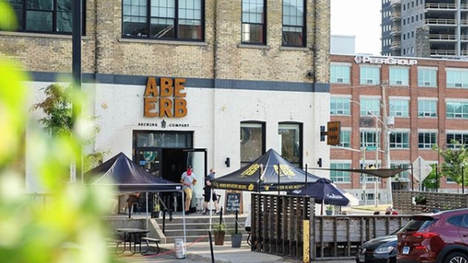 An outdoor patio at a brewery