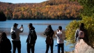 People take in the fall colours at Meech Lake in Chelsea, Que., on Sunday, Oct. 11, 2020. (Justin Tang/THE CANADIAN PRESS)