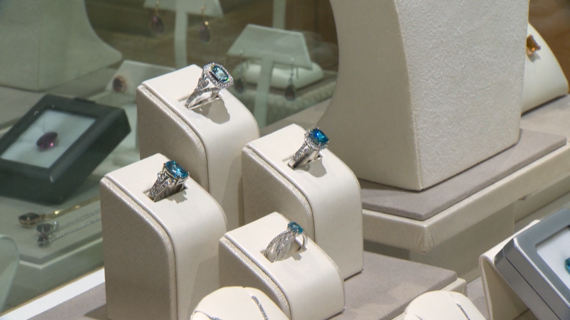 Jewellery on display at Vandenbergs Jewellers