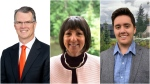 Three candidates running in Coquitlam-Burke Mountain are pictured: Fin Donnelly (left), Joan Isaacs and Adam Bremner-Akins.