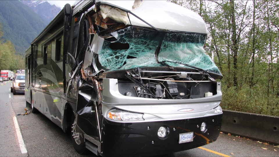 A damaged RV is seen on Highway 1 near Hope, B.C. after a tree fell onto the roadway on Tuesday, Oct. 13, 2020.