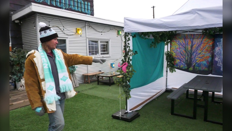 Dan Allard of Cold Garden Brewery put up tents, with patio heaters and fire pits to keep the patio open last autumn. Cold Garden is one of the Calgary bars and restaurants that say patios helped them survive the pandemic. Cold Garden has doubled staff, from 14 to 33 employees