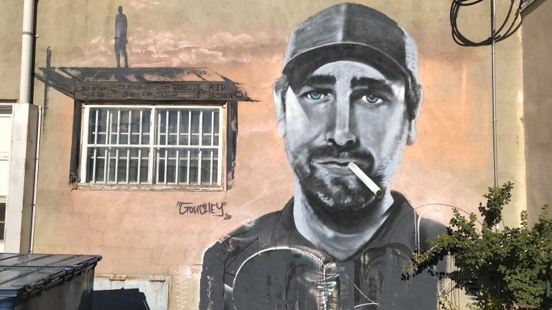 Mural of Scott Seibel on a building in downtown Red Deer. Tuesday Oct. 13, 2020 (Nav Sangha/CTV News)