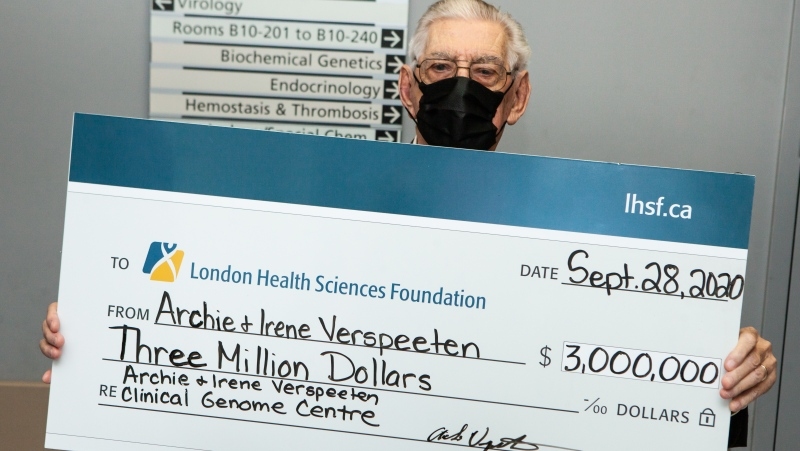 Archie Verspeeten with the donation to the London Health Sciences Foundation. (Supplied)