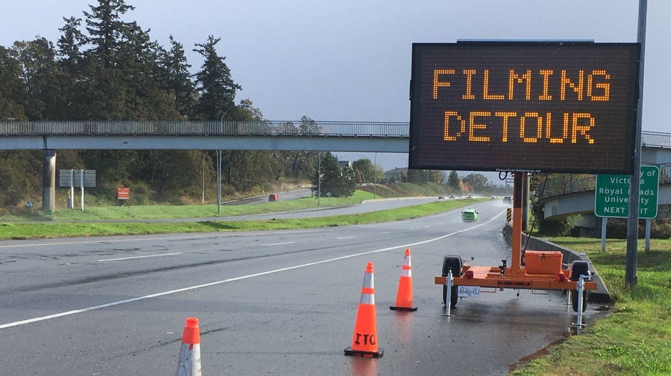 A highway sign warning of filming detours is seen beside the Pat Bay Highway in Saanich in October.