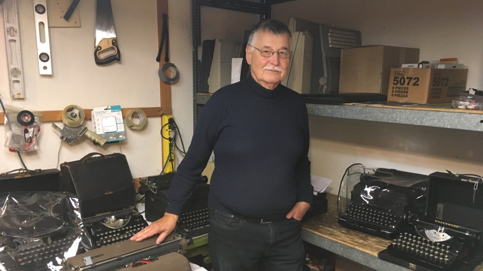 Typewriter repairman Manfred Aulich is one of the last in Ontario (Stephanie Villella / CTV News Kitchener)
