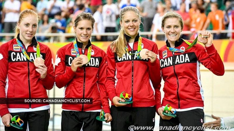 Cyclist Allison Beveridge, left, won bronze at the 2016 Summer Games in Rio De Janeiro with teammates Jasmin Glaesser, Kristi Lay and Georgia Simmerling in the women's team pursuit.