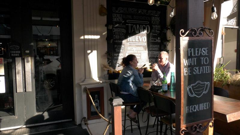 Customers sit on a patio in Kingston, Ont. (Kimberley Johnson / CTV News Ottawa)