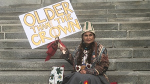 Shelly Boyd, a descendant of the Sinixt, waits on the steps outside the Supreme Court of Canada on Oct. 8, 2020.