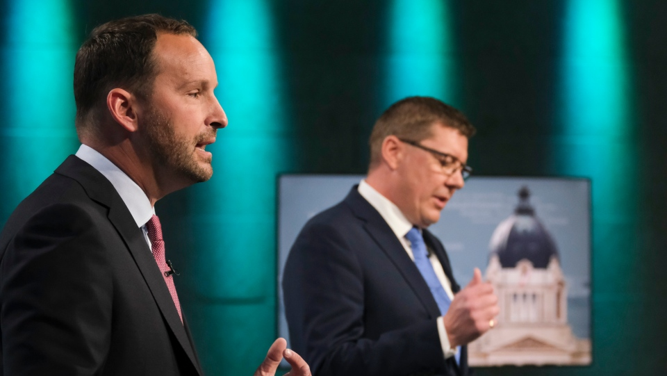 Saskatchewan Party Leader Scott Moe and Saskatchewan NDP Leader Ryan Meili debate during the Leaders' Debate at the Provincial Archives in Regina on Wednesday Oct. 14, 2020. THE CANADIAN PRESS/Michael Bell