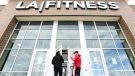 People enter an Ontario LA Fitness centre during the COVID-19 pandemic on Friday, October 2, 2020. THE CANADIAN PRESS/Nathan Denette