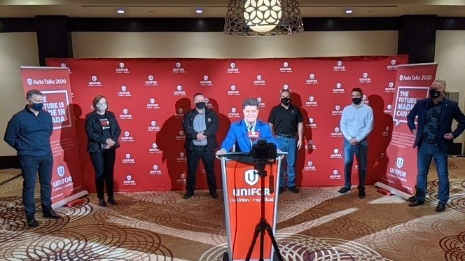 Unifor president Jerry Dias announces details on FCA tentative deal. (Courtesy Unifor / Facebook)