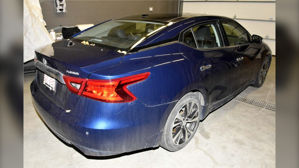 A blue 2017 Nissan Maxima believed used in the shooting  of Matthew Maniago was recovered by police. (Calgary police handout)