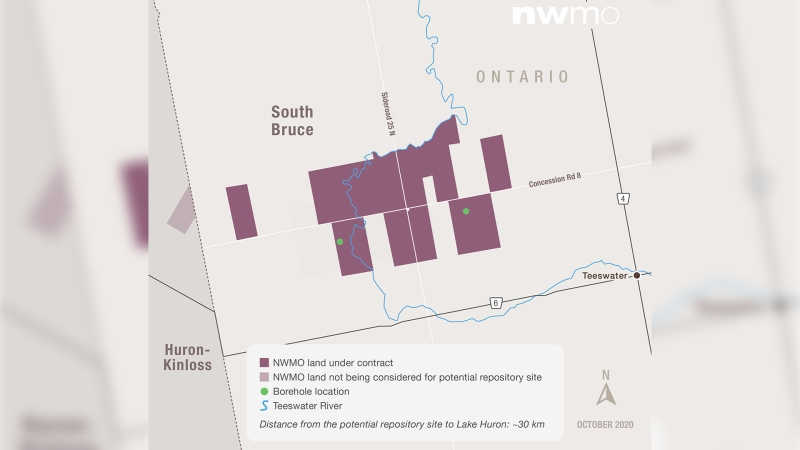 A map provided by the Nuclear Waste Management Organization shows the proposed location for storing nuclear waste near Teeswater, Ont.