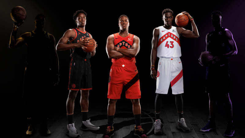 Toronto Raptors unveiled three of their new uniforms for the upcoming NBA season. (Toronto Raptors)