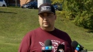 Chief Mike Sack of the Sipekne'katik First Nation holds a news conference in Digby, N.S., on Oct. 15, 2020.