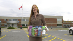 Veronica Horsey has started a water bottle drive for students in Smiths Falls. (Nate Vandermeer/CTV News Ottawa)