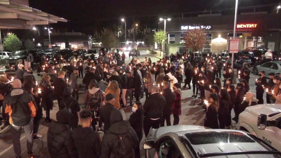 Dozens gathered at an emotional vigil to remember 17-year-old Jackson Diggle on Oct. 15, 2020.