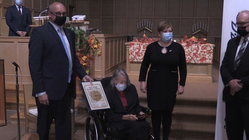 Nora Visser of New Liskeard honoured with award. Oct. 15/20 (Eric Taschner/CTV Northern Ontario)