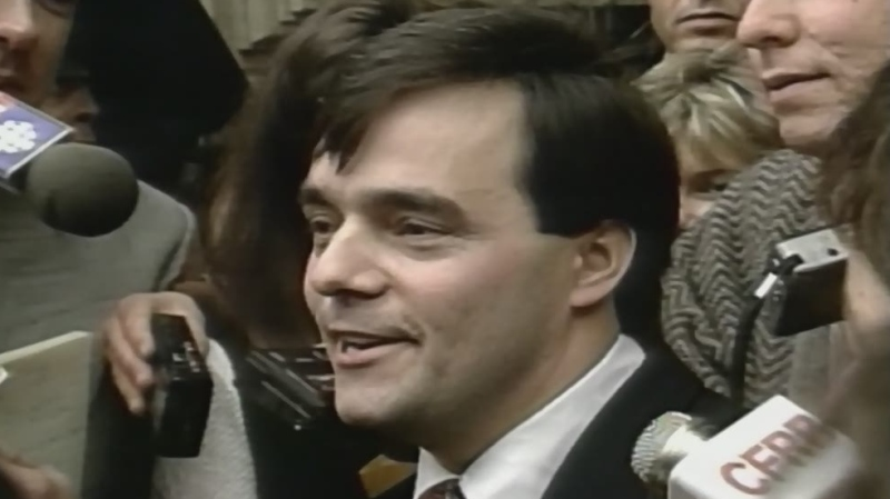 Guy Paul Morin speaks after being cleared in the death of Christine Jessop, Jan. 23, 1995.