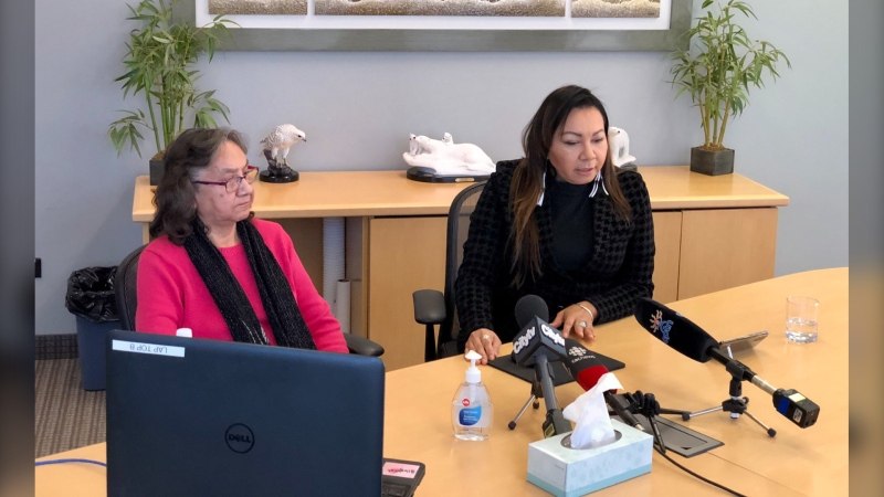 Sheila North (right) and her mother Sadie allege racism at Winnipeg's Grace Hospital after Sadie was admitted with cellulitis in September. The family shared their concerns during a press conference on October 16, 2020 (CTV News Photo Jill Macyshon)