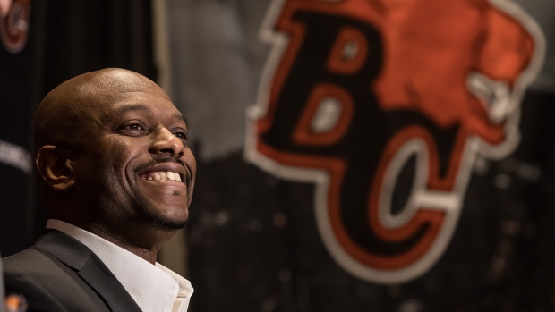 BC Lions General Manager Ed Hervey smiles during a news conference in Surrey, B.C., on Tuesday, Feb. 12, 2019. (Darryl Dyck / THE CANADIAN PRESS)