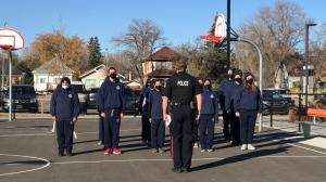 A guest member of the Regina Police Service teaching a portion of the Scott Police Academy. (Stefanie Davis/CTV News)