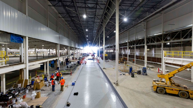 Renovations and new construction at the General Motors Detroit-Hamtramck Assembly Plant on Friday, Sept. 11, 2020. (Jeffrey Sauger/General Motors via CNN)