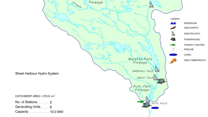 The Marshall Falls Reservoir is part of the Sheet Harbour hydroelectric system operated by Nova Scotia Power. (SOURCE: NS POWER)