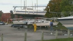 Boat lift day at Barrie Marina