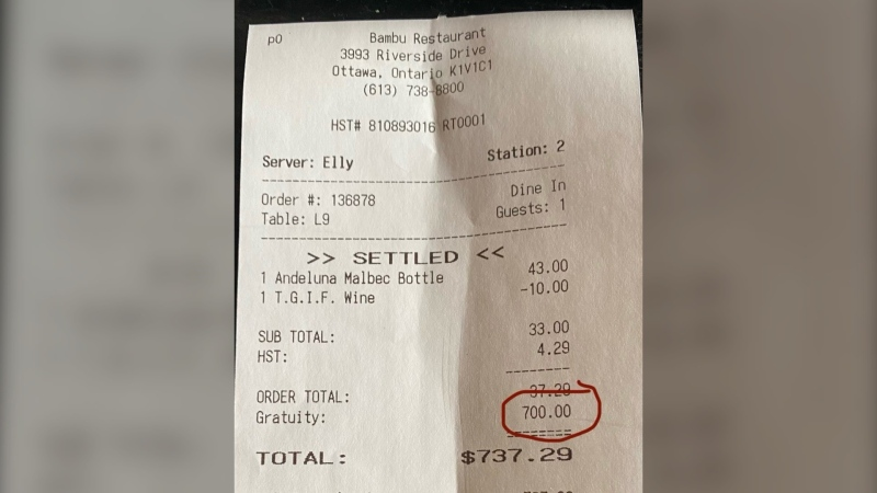 Bambu Restaurant received a $700 tip to share among staff on the Friday before COVID-19 forced dine-in to close.