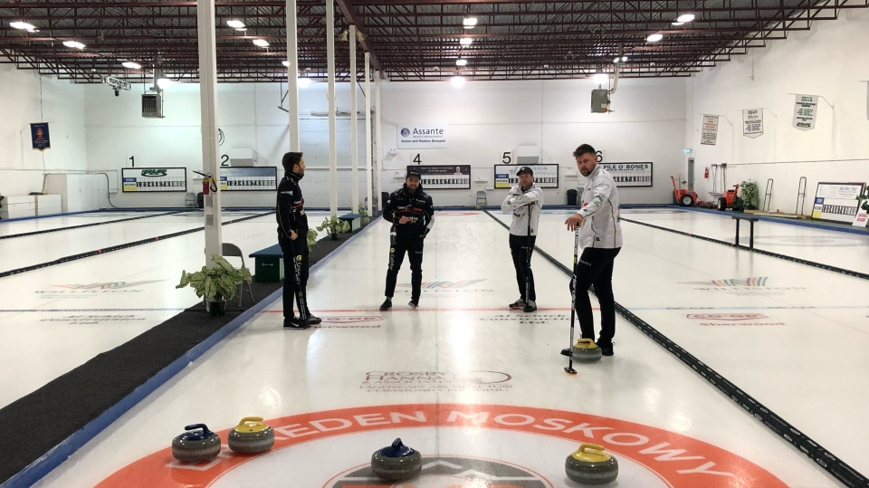 Team Dunstone practices ahead of the Men's Super Series on weekend. (Claire Hanna/CTV News)
