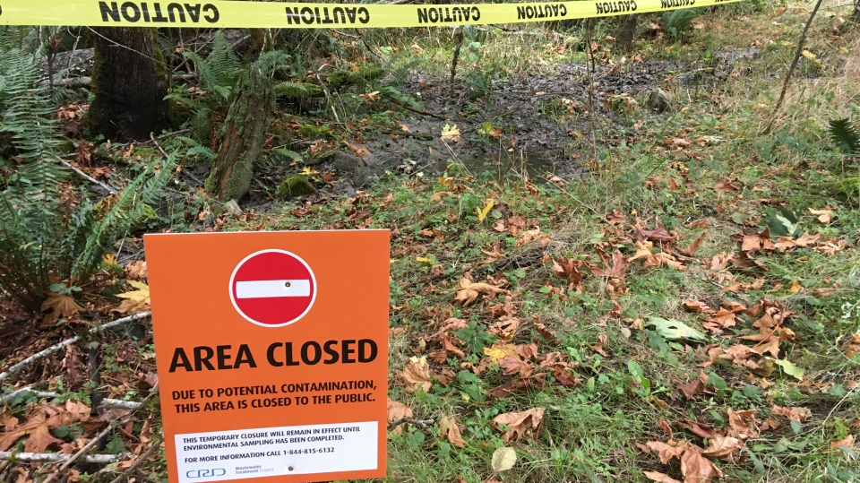 A warning sign is pictured at Mount Work Regional Park where 130-cubic-metres of diluted sewage spilled and settled in the area: (CTV News)
