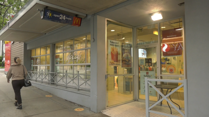The McDonald's near Davie and Cardero streets was briefly closed for cleaning on Friday after an employee tested positive for COVID-19.