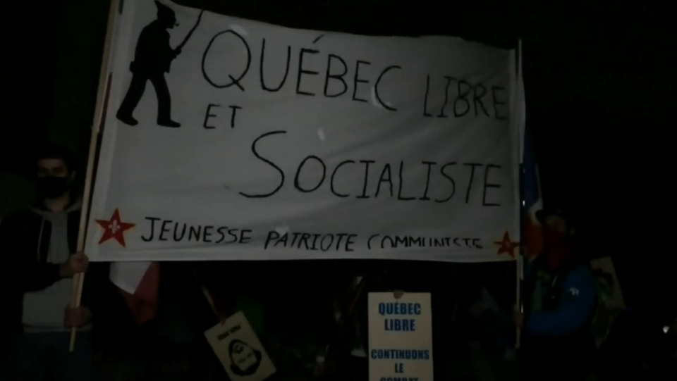 Young Quebec sovereigntists hold rally
