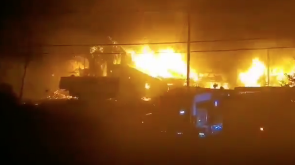 A large fire completely destroyed a commercial building, reported to be a Mi'kmaq lobster pound, in Middle West Pubnico, N.S. early Saturday night. (Photo via: Pierrette dEntremont)
