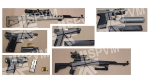 The SPVM's organized crime unit conducted a series of raids Oct. 16, 2020 and seized drugs and a collection of weapons including military-style semi-automatic rifles. SOURCE: SPVM
