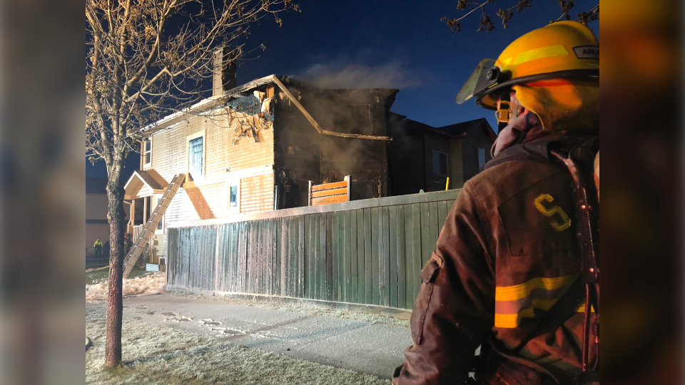 Crews responded to a blaze in the Spruce Village area in Spruce Grove Saturday morning. (Courtesy: Twitter/@IAFFLocal3021)