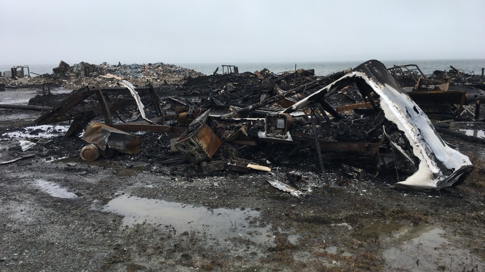 A fish plant in Middle West Pubnico, N.S. was destroyed in an early Saturday morning fire that police are investigating as suspicious. (Photo via: CTV Atlantic's Sarah Plowman)