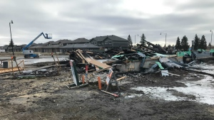 A home under construction in Griesbach was destroyed by fire Saturday morning.