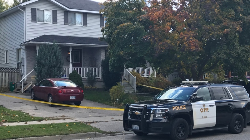 Police at the scene of an incident that left one person seriously injured and another in custody. (Johnny Mazza/CTV Kitchener) (Oct. 17, 2020)
