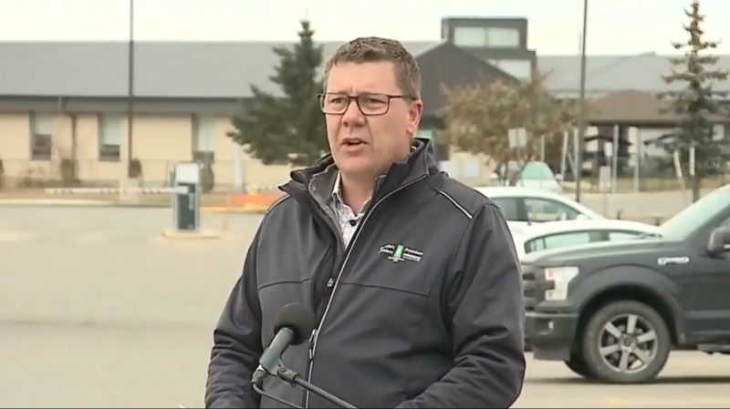 Sask. Party leader Scott Moe made at a campaign event in Prince Albert on Oct. 17, 2020.