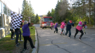 Eight teams participated in this year's Brockville YMCA fire truck pull. (Nate Vandermeer/CTV News Ottawa)
