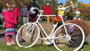 The ghost bike for Rene Tremblay is the eleventh installed by Velo fantome that works to bring attention to road and pedestrian safety.