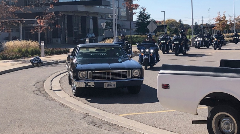 Dozens of vehicles drove by to wish 100-year-old veteran, Charles Jackson a happy birthday on Saturday, October 17, 2020 (Jordyn Read / CTV News)