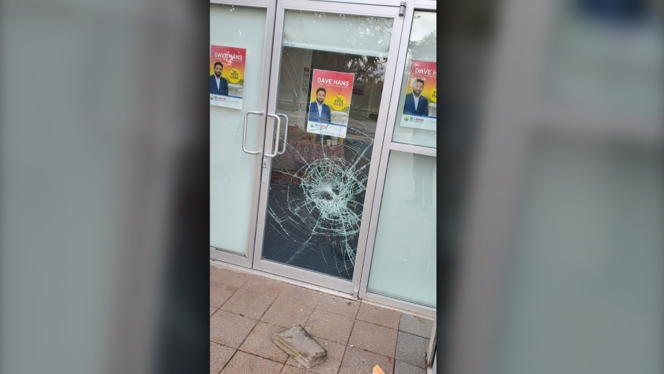 Windows smashed on Dave Hans office Oct. 17, 2020.