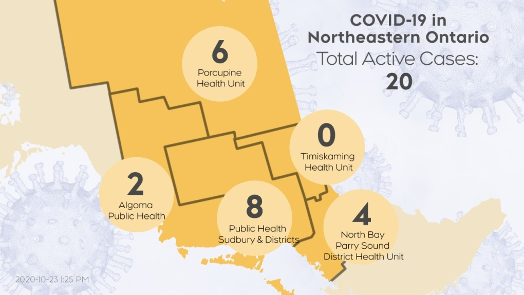 Map showing active COVID-19 cases in northeast