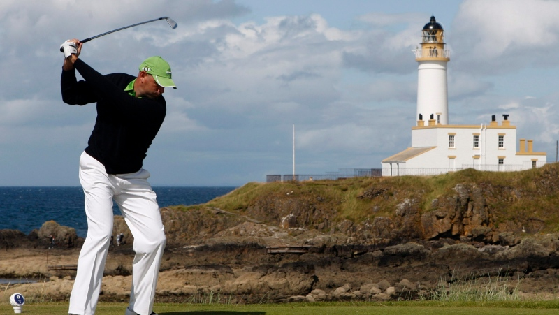 In this July 19, 2009, file photo, Stewart Cink, of the Unites States, plays from the ninth tee during the final round of the British Open Golf championship, at the Turnberry golf course in Scotland. (AP Photo/Peter Morrison, File)